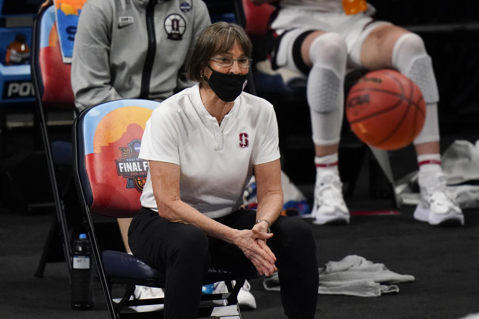 Stanford head coach Tara VanDerveer watches from the bench during the first half of a women's Final Four NCAA college basketball tournament semifinal game against South Carolina Friday, April 2, 2021, at the Alamodome in San Antonio. (AP Photo/Eric Gay)