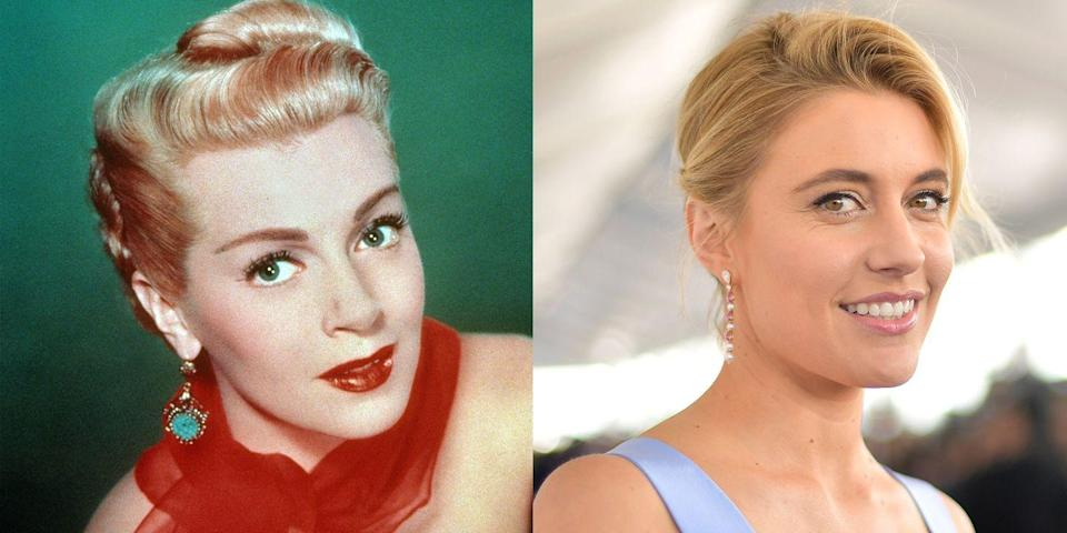 <p>With golden blonde hair, a square-shaped chin, and a button nose, director Greta Gerwig is a dead ringer for Old Hollywood film star Lana Turner. </p>
