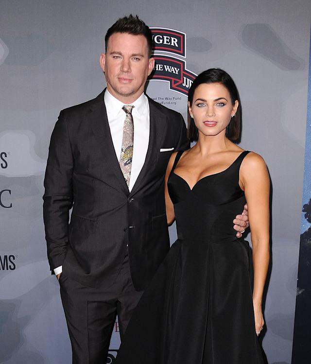 "Channing Tatum and Jenna Dewan Tatum attend the premiere of ""War Dog: A Soldier's Best Friend"" at the Directors Guild awards on Nov. 6, 2017, in Los Angeles. (Photo: Getty Images)"