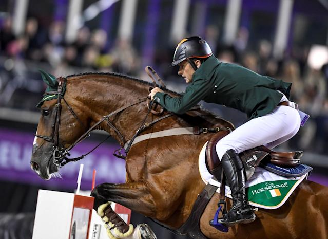 Equestrian - FEI European Championships 2017 - Ullevi Stadium - Gothenburg, Sweden - August 25, 2017 - Denis Lynch, Eire, rides his horse All Star 5 during the team competition jumping event. TT News Agency/Pontus Lundahl via REUTERS ATTENTION EDITORS - THIS IMAGE WAS PROVIDED BY A THIRD PARTY. SWEDEN OUT. NO COMMERCIAL OR EDITORIAL SALES IN SWEDEN