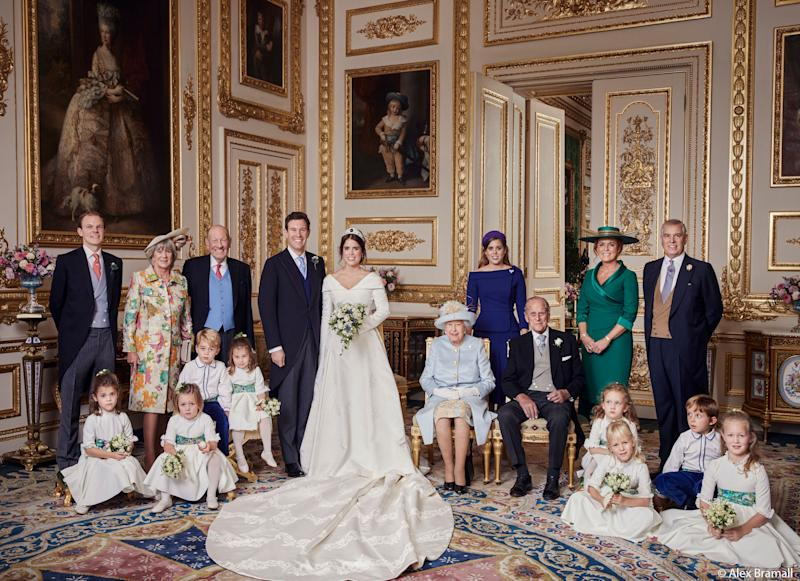 The newlyweds pose with (from left to right, back row): Thomas Brooksbank (Jack's brother); Nicola Brooksbank and George Brooksbank (his parents); Princess Beatrice; Sarah, Duchess of York; and her former husband, His Royal Highness The Duke of York. Middle row: Prince George, Princess Charlotte, Queen Elizabeth II and Prince Phillip, with the rest of the young pages and bridesmaids. (Photo: Alex Bramall/Courtesy Buckingham Palace)