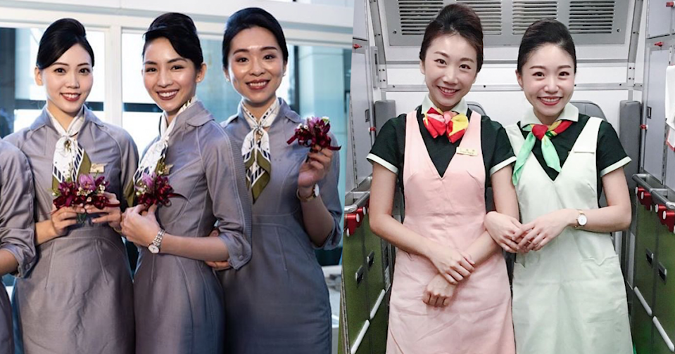 Flight attendants from Starlux Airlines (left) and EVA Air (right) pose for photographs before the coronavirus outbreak. (Courtesy of Starlux/Instagram and EVA air/Instagram)