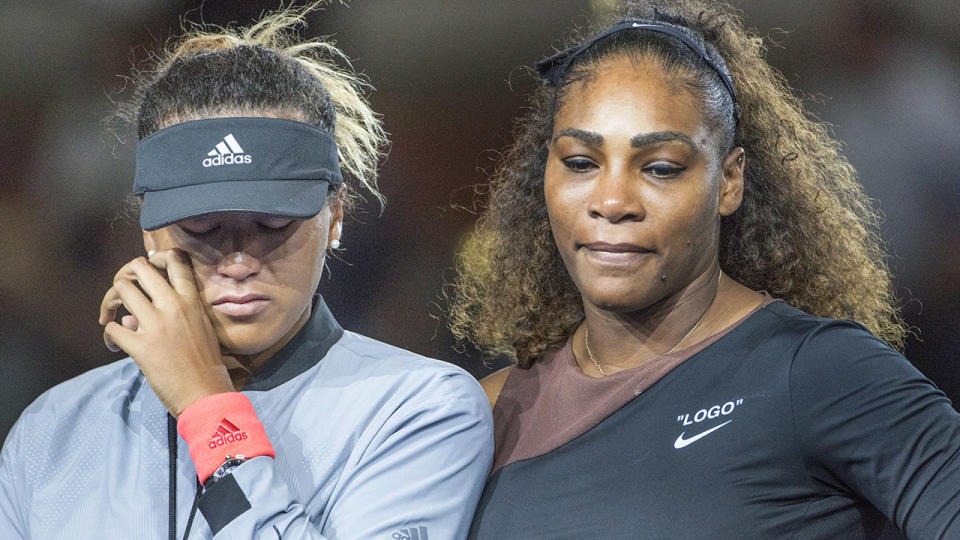 Naomi Osaka and Serena Williams, pictured here after the 2018 US Open final.