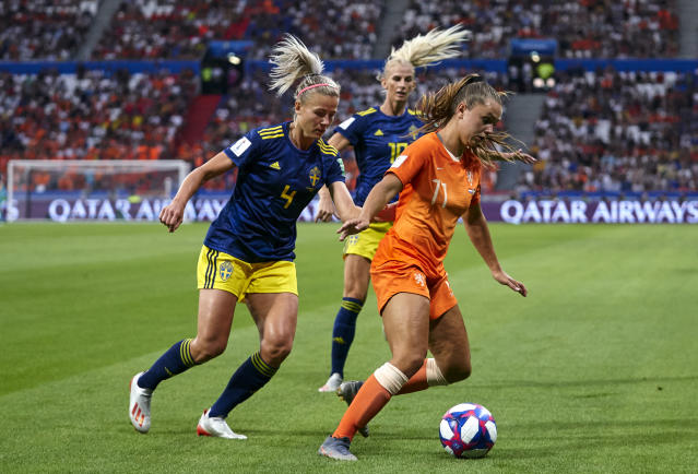 Lieke Martens of Netherlands competes for the ball with Hanna Glas of Sweden during the 2019 FIFA Women's World Cup France Semi Final match between Netherlands and Sweden at Stade de Lyon on July 03, 2019 in Lyon, France. (Photo by Quality Sport Images/Getty Images)