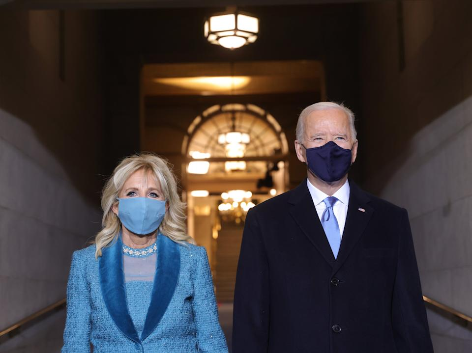 President-elect Joe Biden and Jill Biden arrive at his inauguration ceremony on the West Front of the CapitolGetty Images