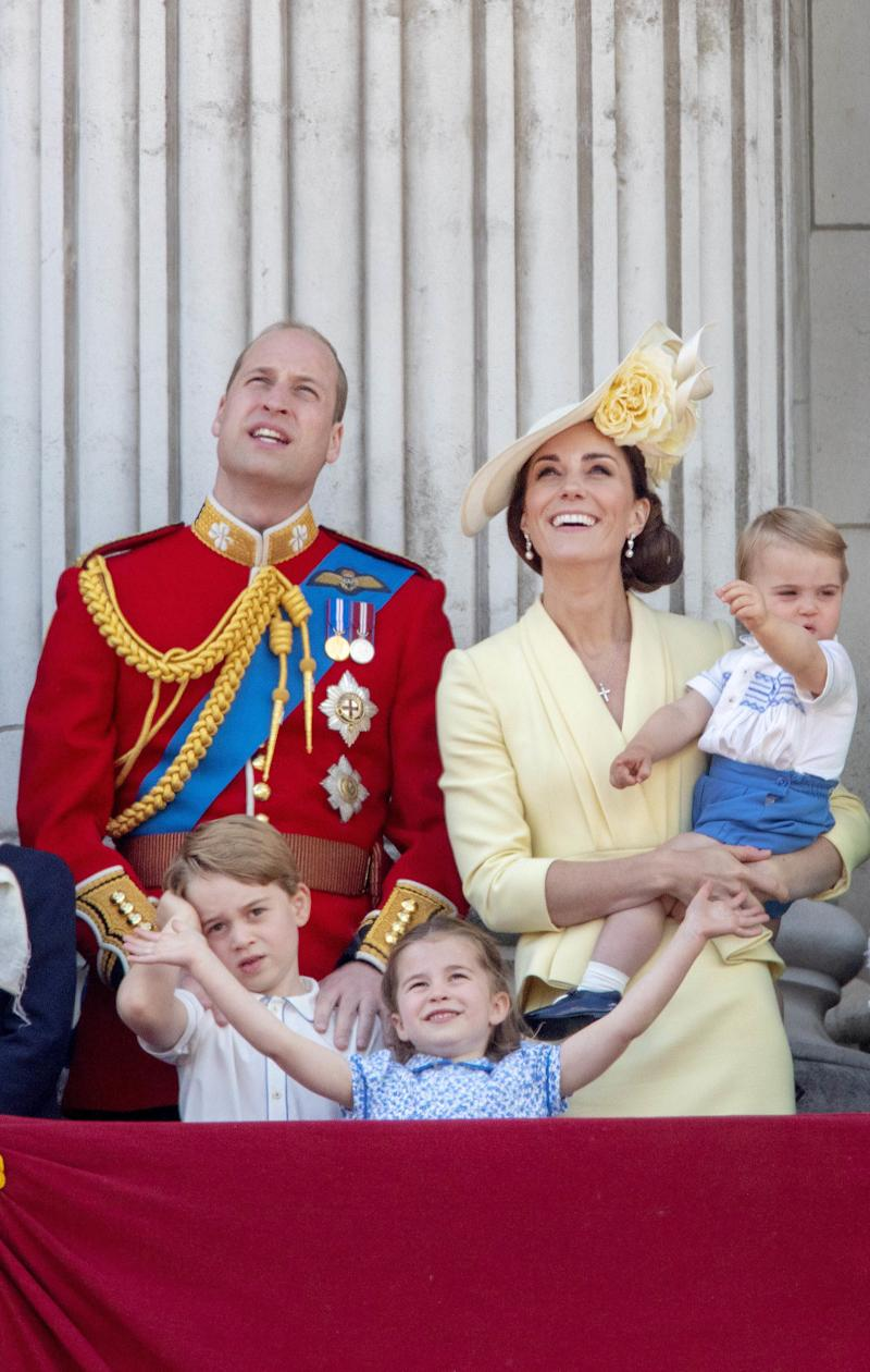 08-06-2019 England The ceremony of the Trooping the Colour, marking the monarch's official birthday, in London. Prince William, Prince Louis, Prince George, Princess Charlotte, Catherine, Duchess of Cambridge ( PPE/Nieboer /Sipa USA)