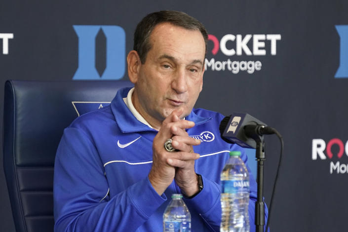 Duke coach Mike Krzyzewski responds to questions during the team's NCAA college basketball media day in Durham, N.C., Tuesday, Sept. 28, 2021. (AP Photo/Gerry Broome)