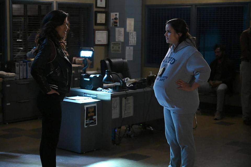 "<p>While the show hid Fumero's first pregnancy in 2016 — except for one episode in season four where her character, Amy, pretended to be pregnant during a sting operation — when she got pregnant during season seven, the writers wrote her pregnancy into the storyline so that they wouldn't have to hide it. </p> <p>Fumero <a href=""https://people.com/parents/melissa-fumero-filming-while-pregnant-son-enzo/"" rel=""nofollow noopener"" target=""_blank"" data-ylk=""slk:told PEOPLE in 2016"" class=""link rapid-noclick-resp"">told PEOPLE in 2016</a> that filming while pregnant is not easy. ""[Enzo] was born, like, five days after we wrapped. I don't recommend it.""</p>"