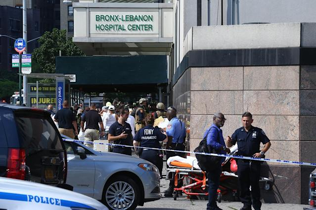 <p>Police officers take security measures outside the Bronx-Lebanon Hospital after a gunman attack in New York, United States on June 30, 2017. At least one person was killed Friday when a gunman opened fire inside a New York City hospital, according to media reports. (Volkan Furuncu/Anadolu Agency/Getty Images) </p>