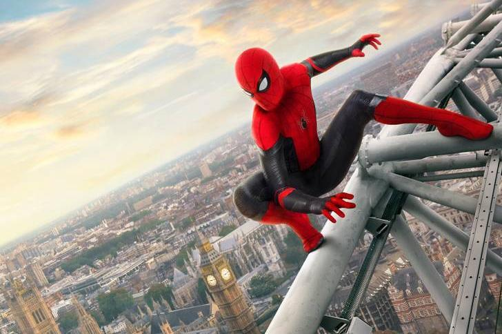 The London Eye takes centre stage in the new poster for Marvel superhero blockbuster 'Spider-Man: Far From Home'. (Credit: Sony/Marvel)