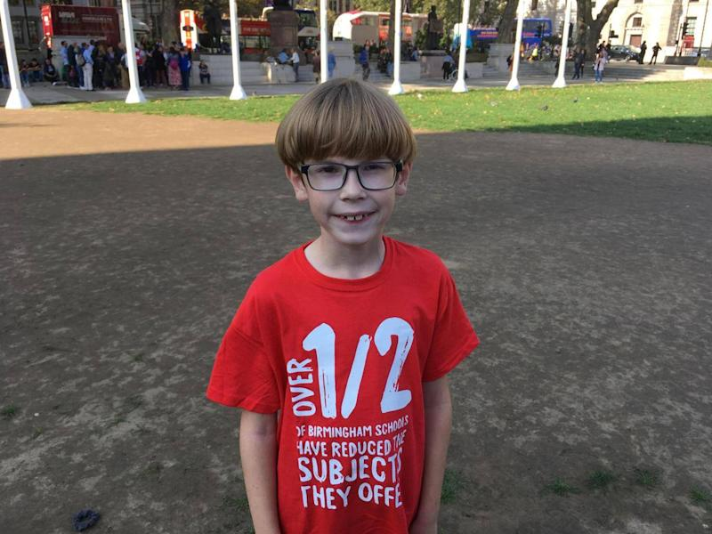 Harry, 8, from Hitchin, Hertfordshire, spoke about the impact of funding cuts on schools (Eleanor Busby)