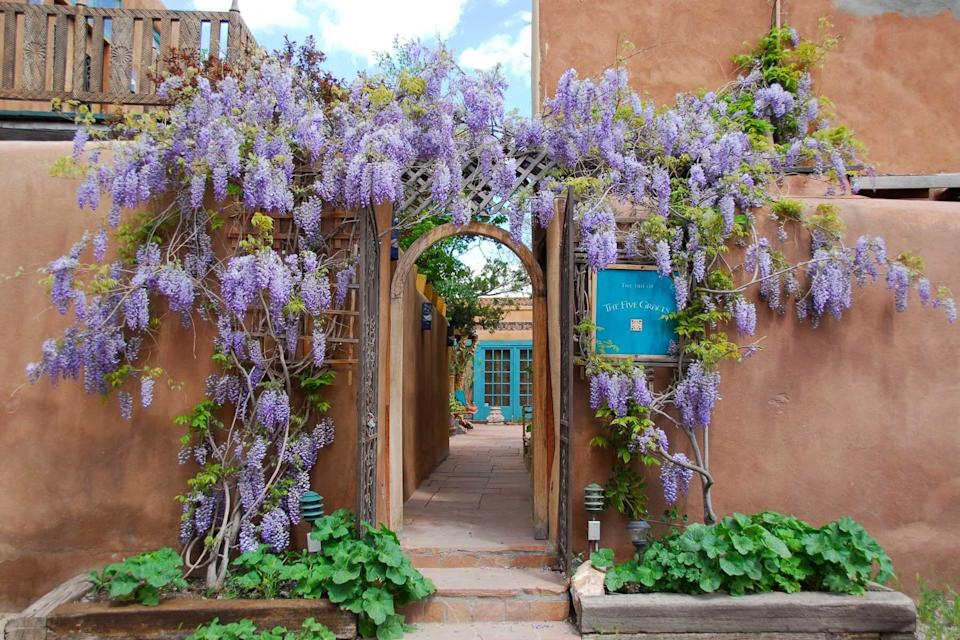 The hydrangea-draped entry to The Inn of The Five Graces, voted one of the best hotels in the world