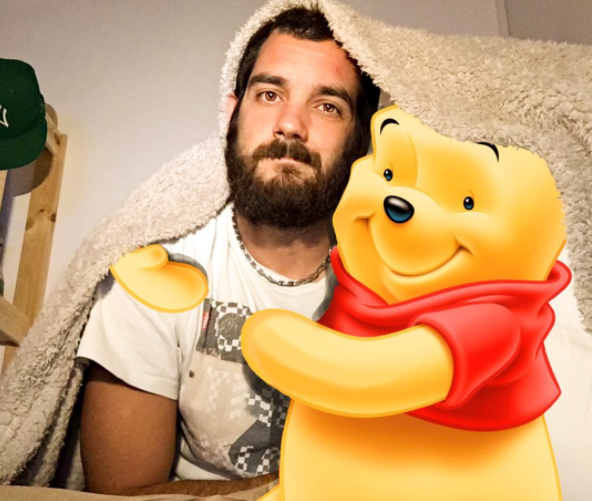 "This adorable bearded man creates art that lets him ""hang out"" with his fave Disney <a href="