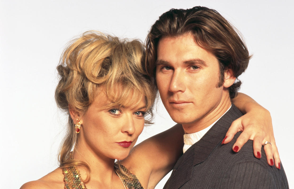 Claire King with her on-screen 'Emmerdale' flame Ian Kelsey in 1995. (Tim Roney/Getty Images)