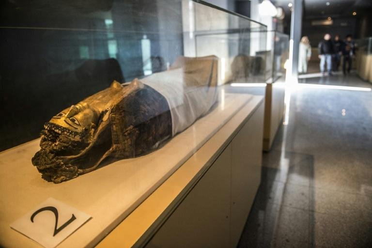 A mummy discovered in the Bahariya Oasis, one of Hawass's dig sites, on display in a nearby museum (AFP Photo/KHALED DESOUKI)