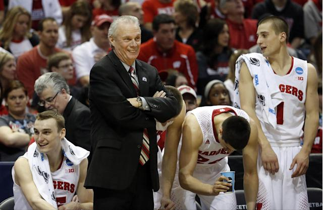 Wisconsin head coach Bo Ryan smiles during the second half of a second-round game against the American in the NCAA college basketball tournament Thursday, March 20, 2014, in Milwaukee. Wisconsin won 75-35. (AP Photo/Jeffrey Phelps)