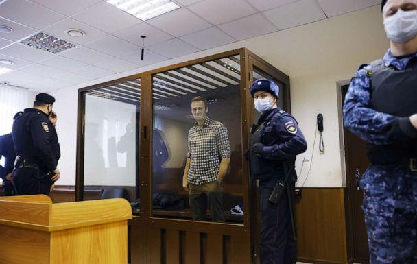 FILE PHOTO: Russian opposition leader Alexei Navalny attends a hearing to consider an appeal against an earlier court decision to change his suspended sentence to a real prison term, in Moscow, Russia February 20, 2021.  (Maxim Shemetov/Reuters)