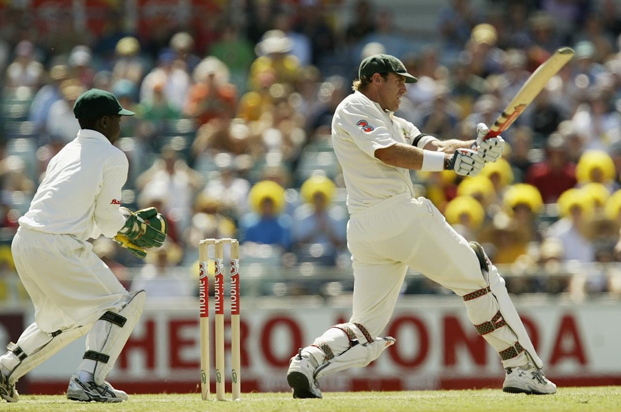 PERTH, AUSTRALIA - OCTOBER 10: Matthew Hayden of Australia in action during day two of the First Test between Australia and Zimbabwe played at the WACA Ground on October 10, 2003 in Perth, Australia. (Photo by Hamish Blair/Getty Images)