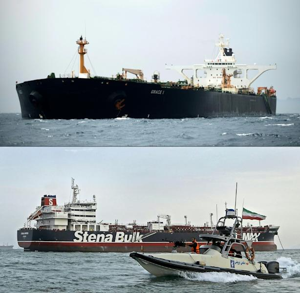 Little more than two weeks after Royal Marines seized the Grace 1 tanker off the coast of Gibraltar Iran's Islamic Revolutionary Guard Corps impounded the British-flagged Stena Impero in the Gulf in what London called a tit-for-tat move (AFP Photo/JORGE GUERRERO, Hasan Shirvani)