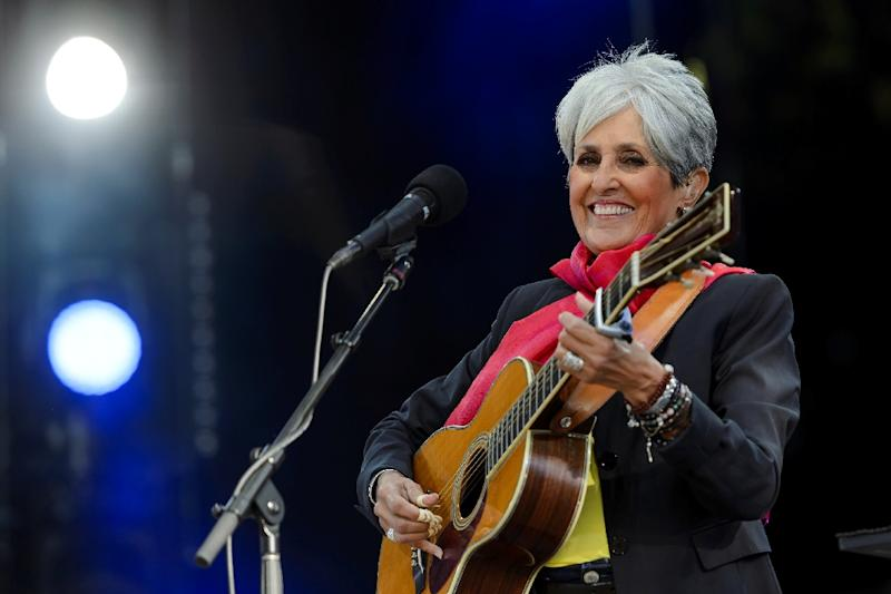 File photo taken July 25, 2015, of US folk singer Joan Baez at the Paleo Festival in Nyon, the biggest open-air festival in Switzerland (AFP Photo/Fabrice COFFRINI)