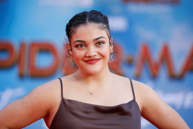 """U.S. Olympic gymnast Laurie Hernandez poses at the World Premiere of Marvel Studios' """"Spider-man: Far From Home"""" in Los Angeles,"""
