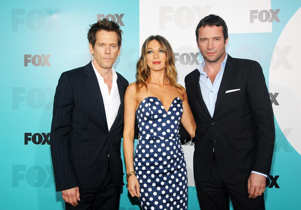 """Kevin Bacon, Natalie Zea, and James Purefoy (""""The Following"""") attend the Fox 2012 Upfronts Post-Show Party on May 14, 2012 in New York City."""