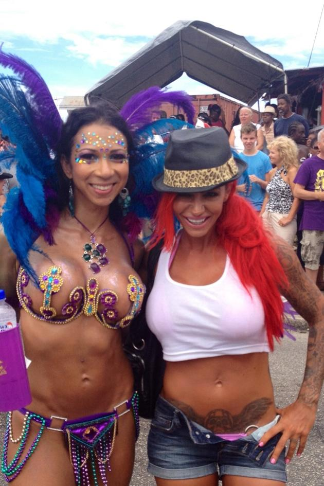 Celebrity Twitpics: Jodie Marsh has spent a week lying in the sun in Barbados. During some time away from the beach the former glamour model attended a carnival, where she tweeted photos of herself with the stars of the show.