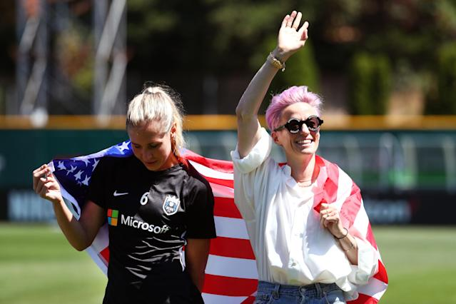Megan Rapinoe, right, doesn't see the point in engaging President Donald Trump. (Getty)