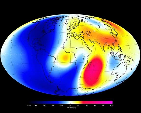 Changes measured by the Swarm satellite over the past 6 months shows that Earth's magnetic field is changing. Shades of red show areas where it is strengthening, and shades of blue show areas that are weakening.