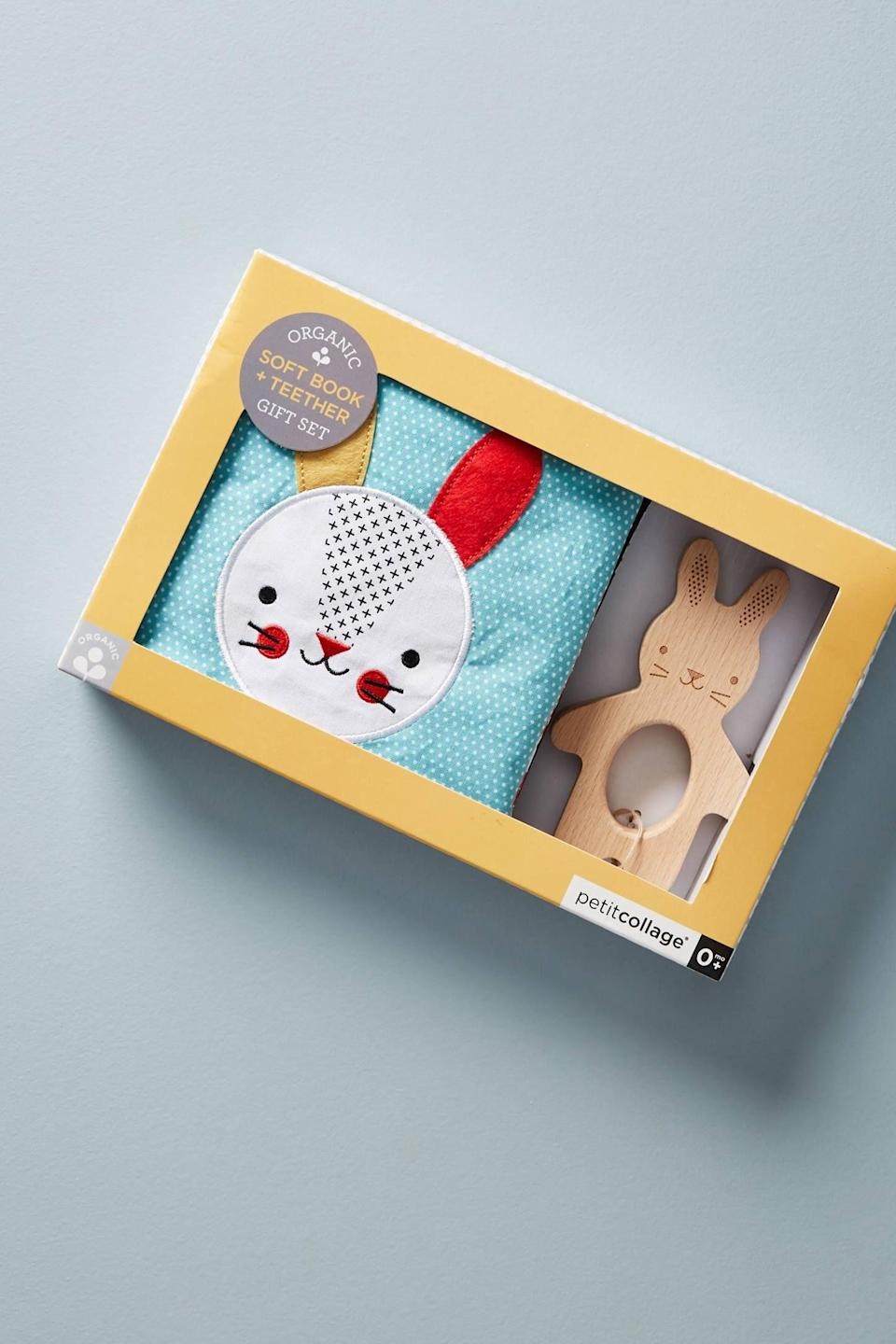"""<p><strong>Anthropologie</strong></p><p>amazon.com</p><p><a href=""""https://www.amazon.com/Petit-Collage-Organic-Beachwood-Teether/dp/B07F3LWTJR?tag=syn-yahoo-20&ascsubtag=%5Bartid%7C10050.g.26570259%5Bsrc%7Cyahoo-us"""" rel=""""nofollow noopener"""" target=""""_blank"""" data-ylk=""""slk:Shop Now"""" class=""""link rapid-noclick-resp"""">Shop Now</a></p><p>You've gotta love a gift set. With a soft bunny book—made with organic cotton—and a matching wooden teether, your little one is all set for the day. </p>"""