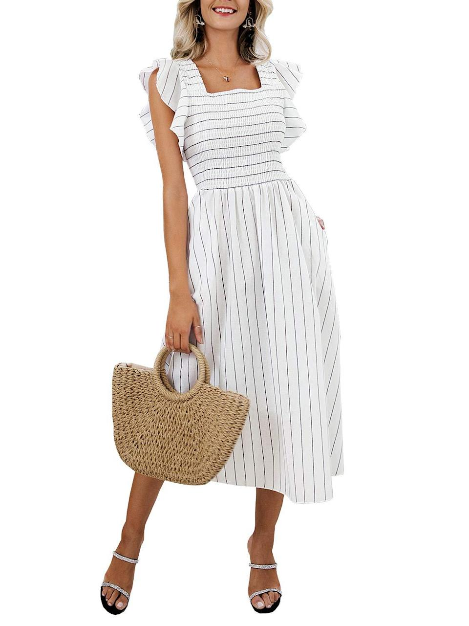 """<h2>Amazon Striped Linen Midi Dress</h2><br>Shopping writer, Chichi Offor, unearthed the <a href=""""https://www.refinery29.com/en-us/cheap-summer-dresses-amazon"""" rel=""""nofollow noopener"""" target=""""_blank"""" data-ylk=""""slk:best dresses on Amazon for cheap"""" class=""""link rapid-noclick-resp"""">best dresses on Amazon for cheap</a> and this <a href=""""https://www.refinery29.com/en-us/the-nap-dress-best-styles"""" rel=""""nofollow noopener"""" target=""""_blank"""" data-ylk=""""slk:nap-dress-esque style"""" class=""""link rapid-noclick-resp"""">nap-dress-esque style</a> became a fast favorite. With a delightful $20 price tag and classic blue to grey or white-striped colorways, the glowing reviewer praise flows freely. <br><br>As one pleased owner of the frock attests, """"This summer dress is a must-have! I must have worn it at least once a week all summer long. It's so comfortable and the material is breathable.. even on humid days. The pockets are ideal and the flutter cap sleeves couldn't be cuter. I ordered a large for just a little better wiggle room and glad I did because it fits perfectly. I wore it with white sneakers, sandals, and espadrilles so it's very versatile. Looking forward to pulling it out of the closet next summer.""""<br><br><em>Shop <strong><a href=""""https://amzn.to/3fHExdm"""" rel=""""nofollow noopener"""" target=""""_blank"""" data-ylk=""""slk:Amazon"""" class=""""link rapid-noclick-resp"""">Amazon</a></strong></em><br><br><strong>Miessial</strong> Striped Linen Midi Dress, $, available at <a href=""""https://amzn.to/3eYB3l1"""" rel=""""nofollow noopener"""" target=""""_blank"""" data-ylk=""""slk:Amazon"""" class=""""link rapid-noclick-resp"""">Amazon</a>"""