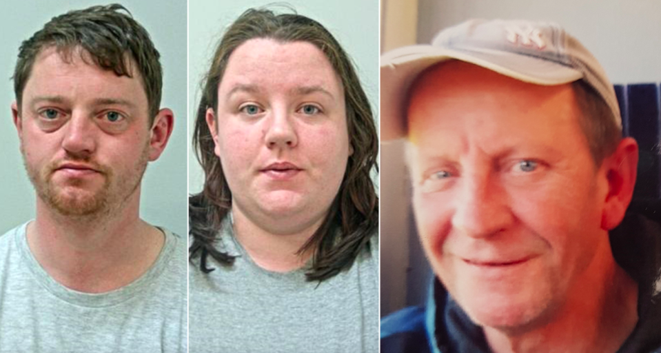 David Noble (left) and sister Nicole Cavin (middle) fed kebab meat to David Clark (right) as he slept. (Reach/SWNS)