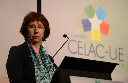 <p>EU foreign policy chief, Catherine Ashton, attends a press conference at the Espacio Riesco, on the eve of the CELAC-EU Summit, in Santiago, on January 25, 2013. Latin American and European leaders open a two-day summit Saturday to give a fresh impetus to efforts to seal a free trade agreement between their two blocs</p>