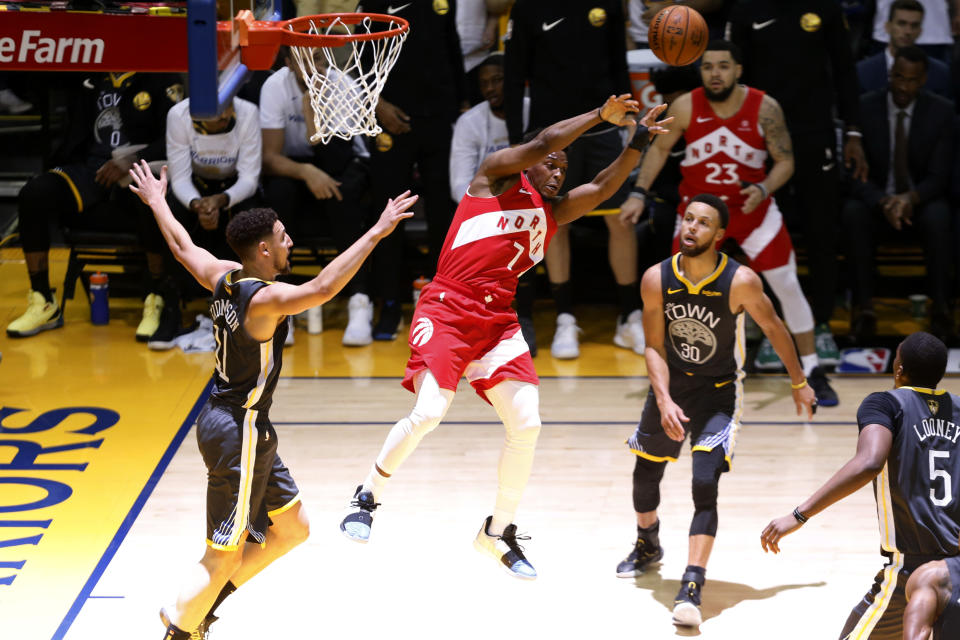 Kyle Lowry #7 of the Toronto Raptors attempts a pass against the Golden State Warriors in the first half during Game Four of the 2019 NBA Finals at ORACLE Arena on June 07, 2019 in Oakland, California. (Photo by Lachlan Cunningham/Getty Images)