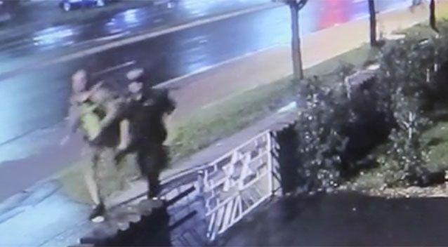 Two men can be seen in the footage running towards the victim. Source: NSW Police.