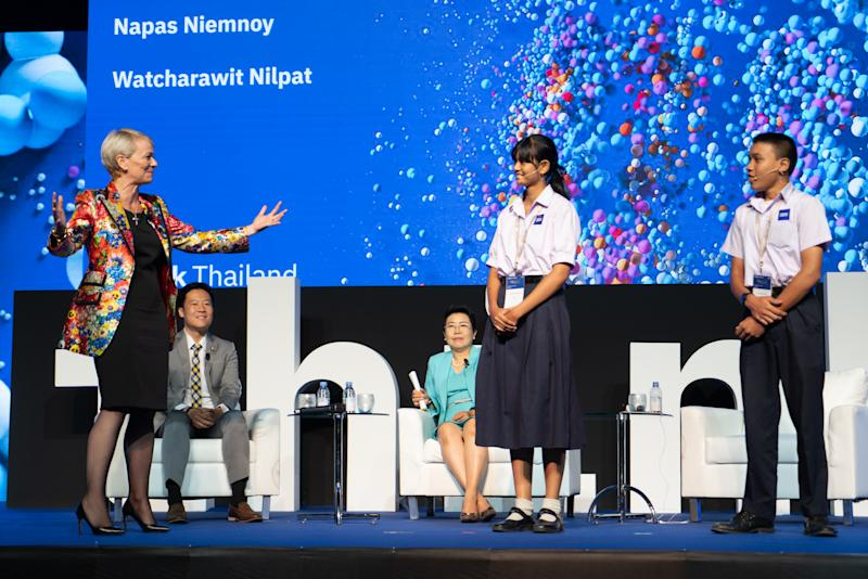 Harriet Green on stage at the launch of P-TECH in Thailand. Photo: IBM