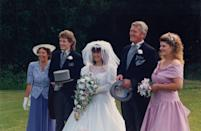 """<p>This lacy look proved popular into the '90s, like in this country English wedding from the era.</p><p><a href=""""https://flic.kr/p/xf6fVw"""" rel=""""nofollow noopener"""" target=""""_blank"""" data-ylk=""""slk:Flickr photo via Martin Pettitt"""" class=""""link rapid-noclick-resp""""><em>Flickr photo via Martin Pettitt</em></a></p>"""