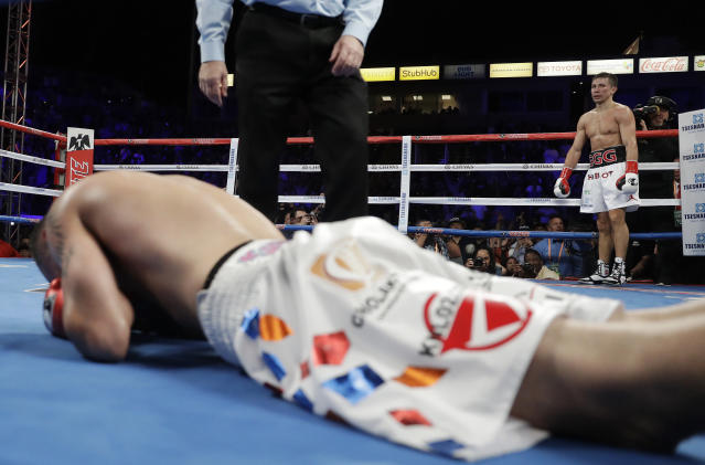 Gennady Golovkin stands in the corner after knocking down Vanes Martirosyan during their middleweight title boxing match, Saturday, May 5, 2018, in Carson, Calif. Golovkin won the bout. (AP Photo/Chris Carlson)