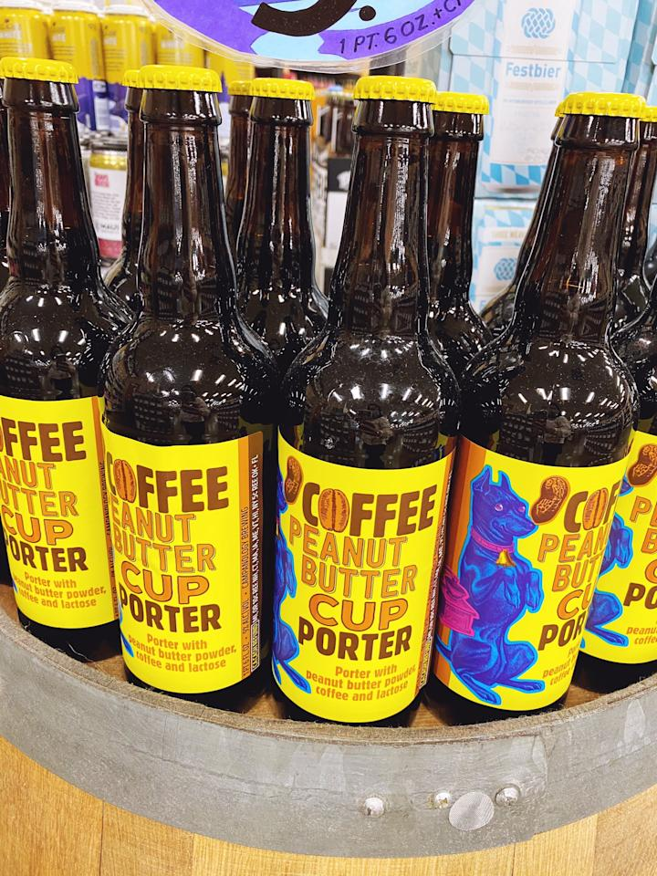 """<p>Here's the Campanology Coffee Peanut-Butter Cup Porter on display at my local Trader Joe's. It's only $3.99, which isn't bad considering it's 22 fluid ounces. The label describes it as a """"porter with peanut butter powder, coffee, and lactose."""" With nine percent alcohol by volume, it packs a punch.</p>"""