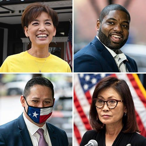 Top from left: Rep.-elect Young Kim, Rep.-elect Byron Donalds Bottom from left: Rep.-elect Tony Gonzales, Rep.-elect Michelle Steel