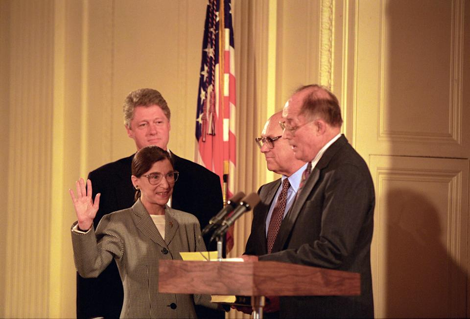 Chief Justice William Rehnquist Administers the Oath of Office to Judge Ruth Bader Ginsburg as Associate Supreme Court Justice at the White House, August 10, 1993.