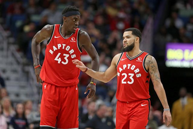 Nov 8, 2019; New Orleans, LA, USA; Pascal Siakam (43) and guard Fred VanVleet (23) have been huge for the Toronto Raptors. (Chuck Cook-USA TODAY Sports)