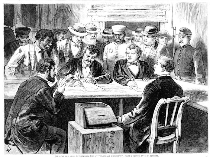 "Men seated around a table with a ballot box counting votes after the disputed 1876 presidential election at 'Elephant Johnnie's', a New Orleans bar and polling place, Nov. 7, 1876. From Frank Leslie's Illustrated Newspaper.<span class=""copyright"">Library of Congress/Getty Images</span>"