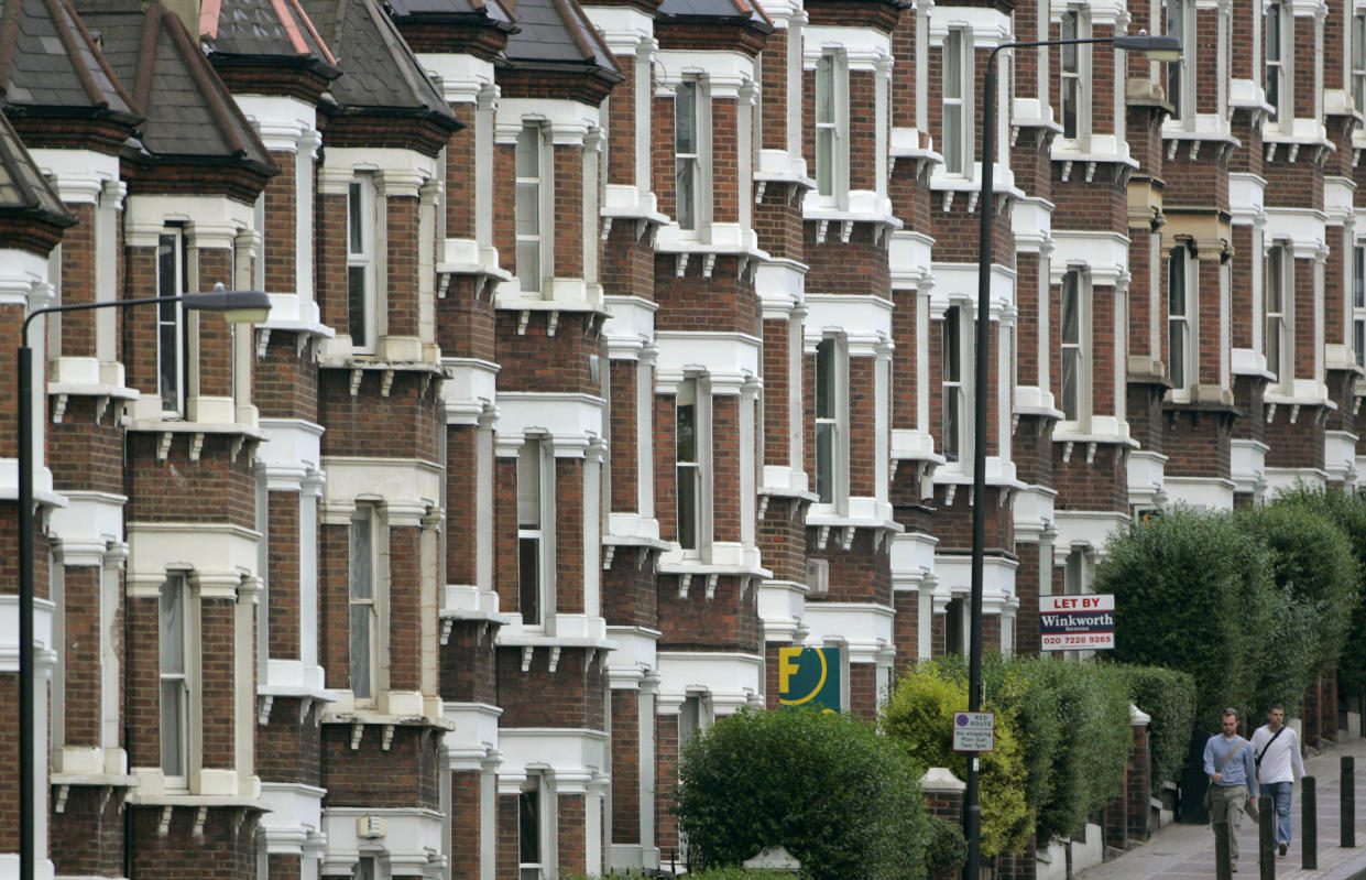 A row of houses in London
