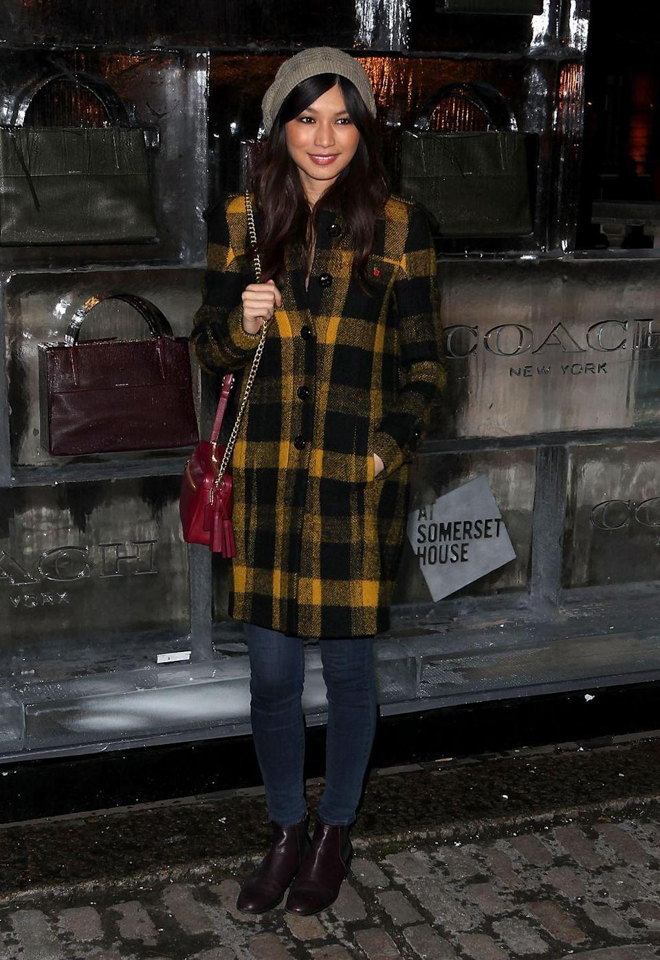 <p>Winter proof beenie, check. Trusty side bag, check. Contrast checked winter jacket, double check for this outing to the launch of Skate at Somerset House in London. </p>