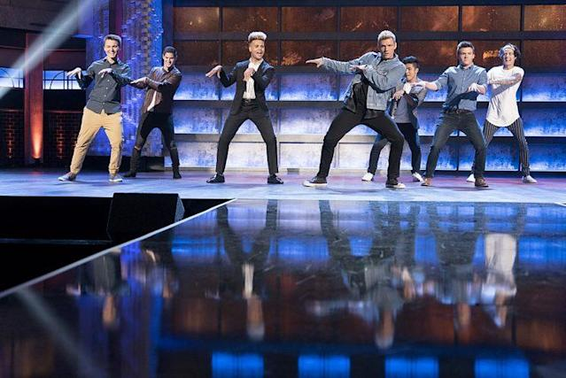 Stone Martin, Andrew Bloom, Jaden Gray, Sergio Calderon, Nick Carter, Andrew Butcher, and Miles Wesley on ABC's 'Boy Band' (Photo Credit: Eric McCandless/ABC)
