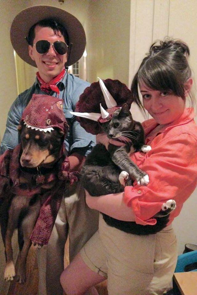 """<p><a class=""""link rapid-noclick-resp"""" href=""""https://www.amazon.com/Animal-Planet-PET20105-Stegosaurus-Costume/dp/B004ZKU2JU?tag=syn-yahoo-20&ascsubtag=%5Bartid%7C10055.g.28106766%5Bsrc%7Cyahoo-us"""" rel=""""nofollow noopener"""" target=""""_blank"""" data-ylk=""""slk:SHOP DOG DINO COSTUME"""">SHOP DOG DINO COSTUME</a></p><p>The more pets, the merrier! Throw back to the original Jurassic Park by dressing up as Grant and Ellie, while getting your dog and/or cat in on the fun with — what else? — dinosaur costumes.</p>"""