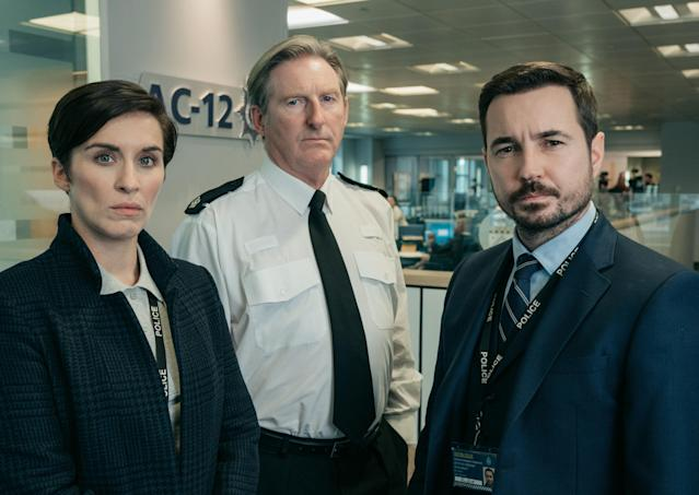 Vicky McClure, Adrian Dunbar and Martin Compston will be back in Line Of Duty next year (Credit: BBC)