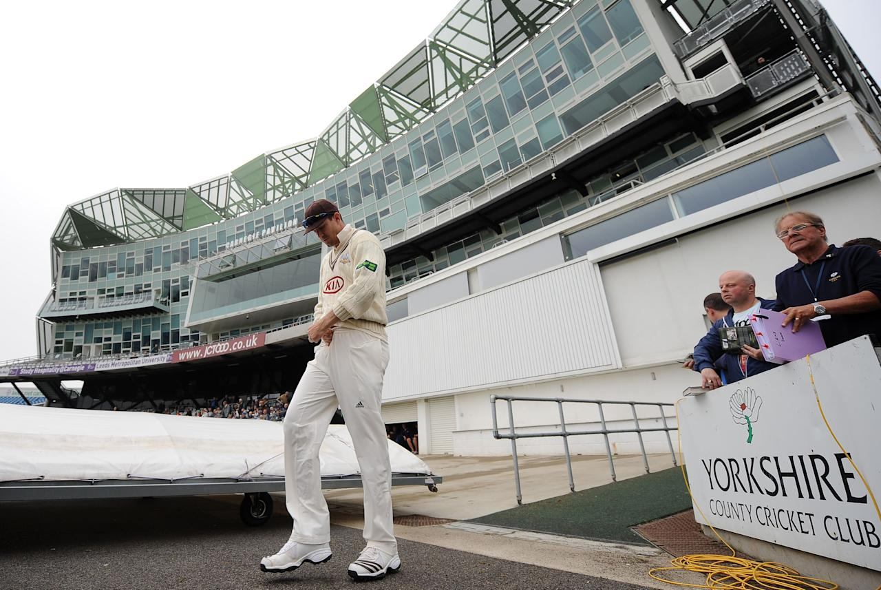 Surrey's Kevin Pietersen walks out to field during day one of the LV County Championship match at Headingley Cricket Ground, Leeds.