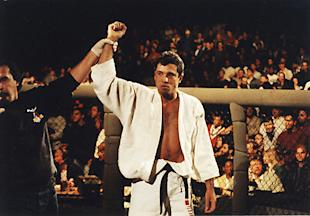 Royce Gracie celebrates after a win at UFC 1 in 1993. (Getty)